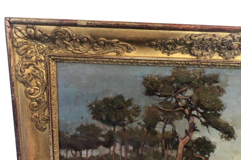 French 19th Century Landscape Oil Painting In Good Condition For Sale In Atlanta, GA