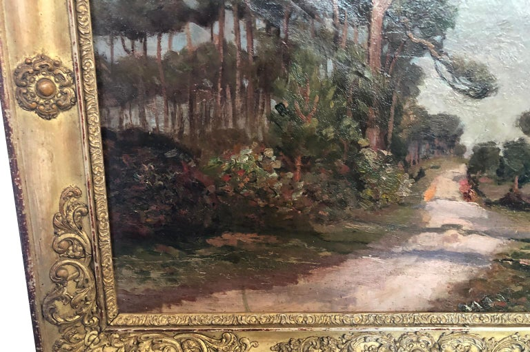 Canvas French 19th Century Landscape Oil Painting For Sale