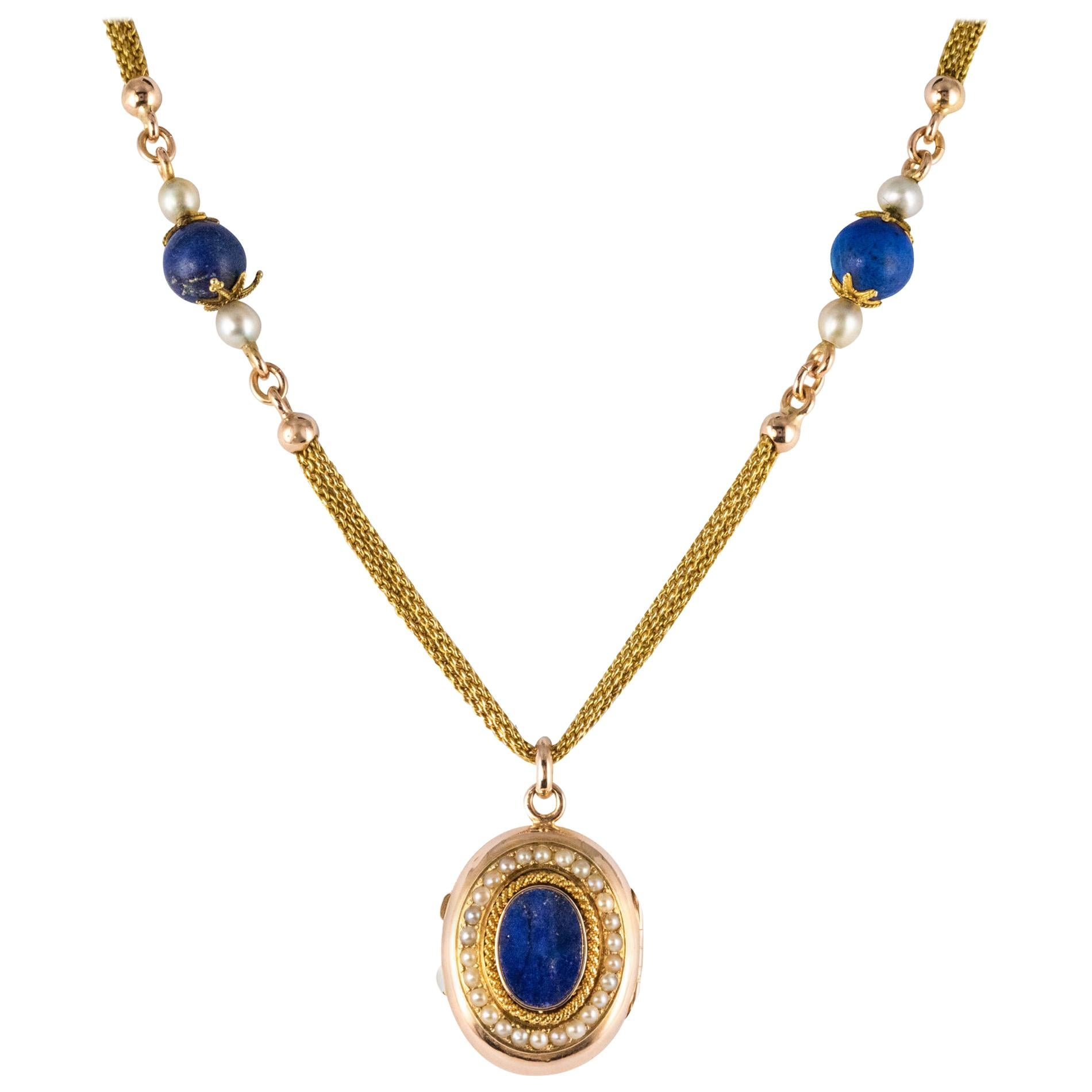 French 19th Century Lapis Lazuli Natural Pearls 18 Karat Gold Medallion Necklace