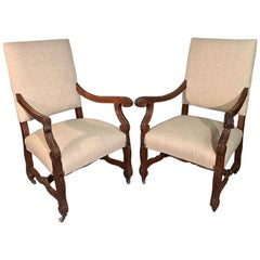 French 19th Century Large Armchairs in Carved Oak and Newly Upholstered
