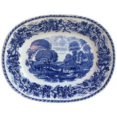 French 19th Century Large Blue and White Transferware Platter Sarreguemines