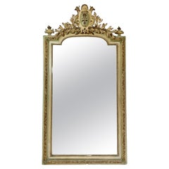 French 19th Century Large Crested Chateau Mirror