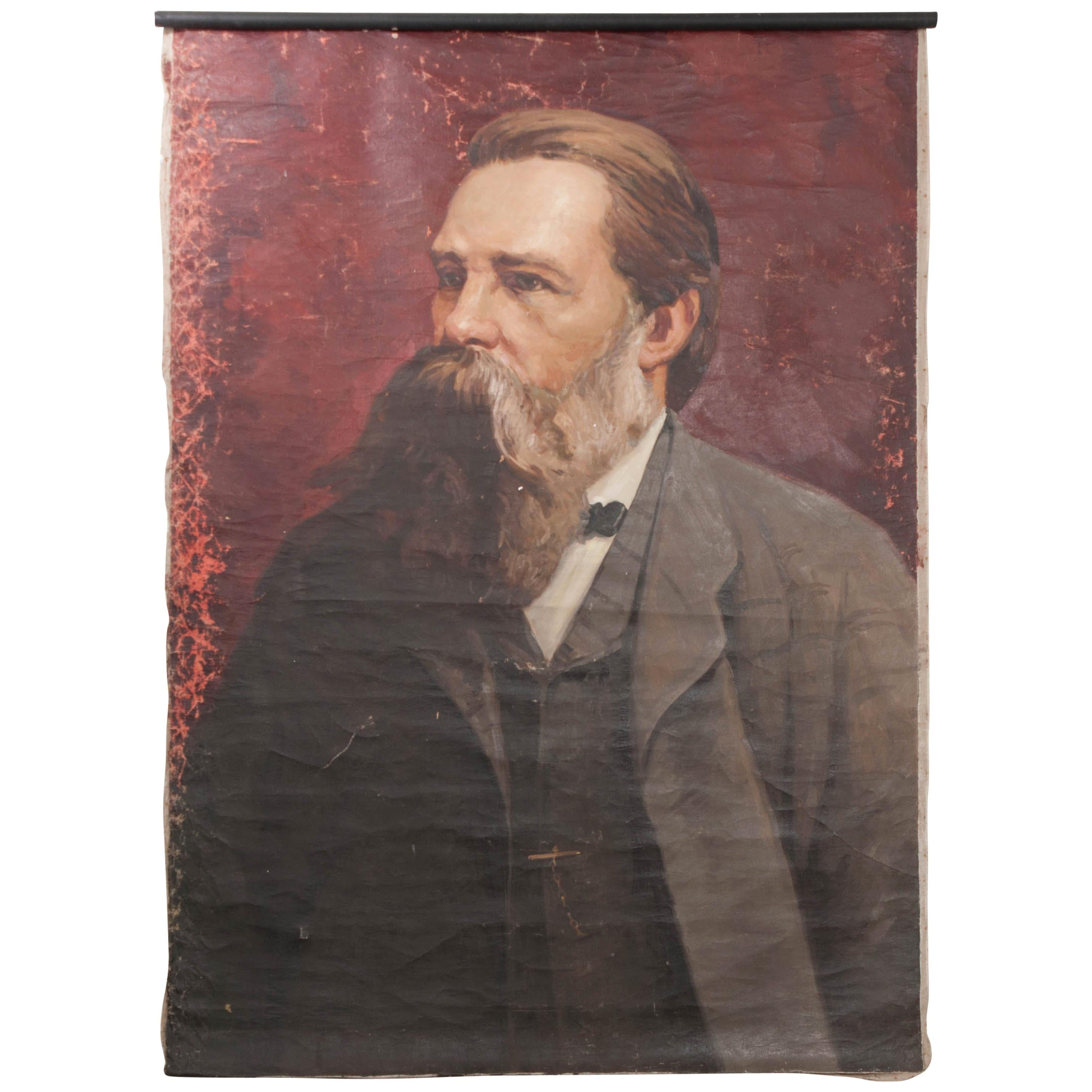 French 19th Century Large Portrait of Friedrich Engels on Canvas