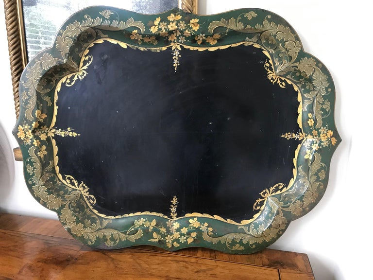 Napoleon III French 19th Century Large Tole Tray For Sale