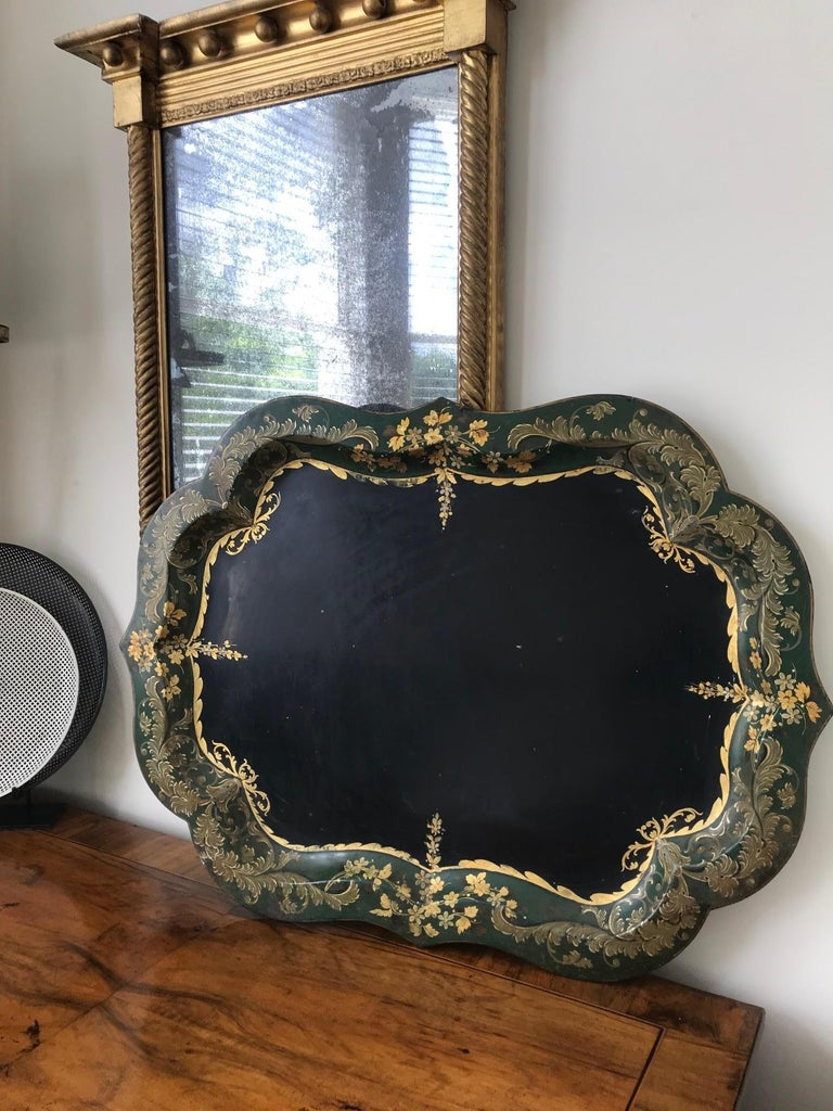 Metal French 19th Century Large Tole Tray For Sale