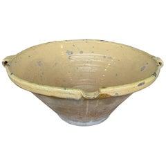 French 19th Century Lemon Yellow Glazed Terracotta Bowl