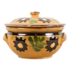 French 19th Century Lidded Pottery Bowl with Floral Decor and Petite Handles