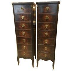 French 19th Century Lingerie Chests Louis XV Style in Walnut Bronze Mounts, Pair