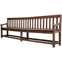 French 19th Century Long Oak Bench