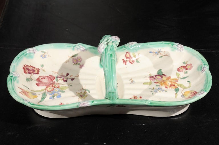 French 19th Century Longchamp Majolica Asparagus Server with Floral Decor For Sale 6
