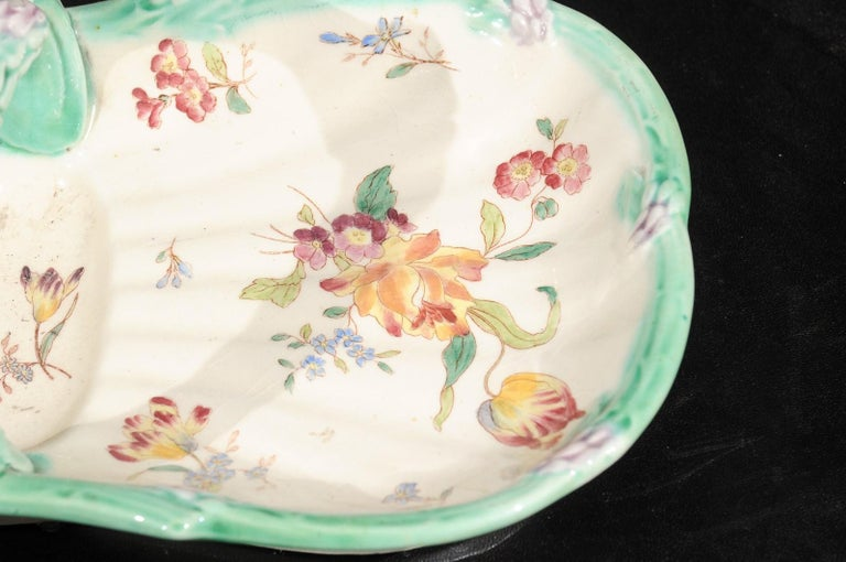 French 19th Century Longchamp Majolica Asparagus Server with Floral Decor For Sale 1