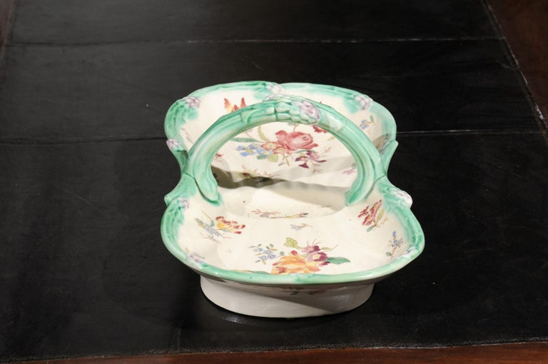 French 19th Century Longchamp Majolica Asparagus Server with Floral Decor For Sale 3