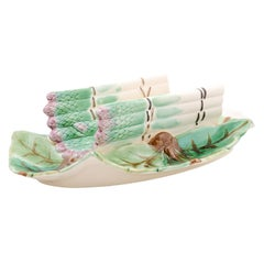 French 19th Century Longchamp Majolica Asparagus Tray with Foliage Platter