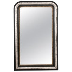 French 19th Century Louis Philippe Argenté and Ebonized Mirror