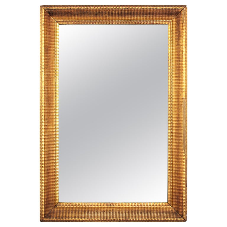 French 19th Century Louis Philippe Gold Leaf Giltwood Ribbed Carving Mirror For Sale