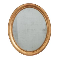 French 19th Century Louis Philippe Oval Gold Gilt Mirror