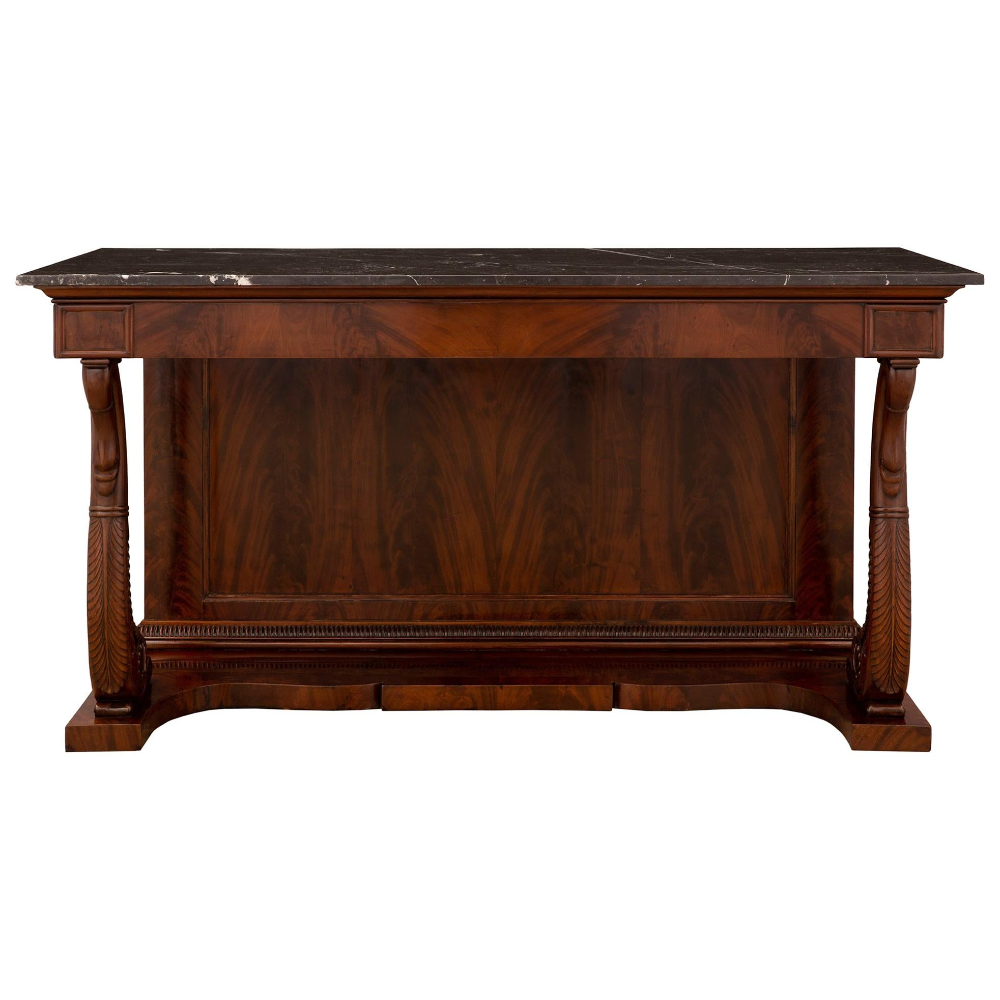 French 19th Century Louis Philippe Period Mahogany and Marble Console