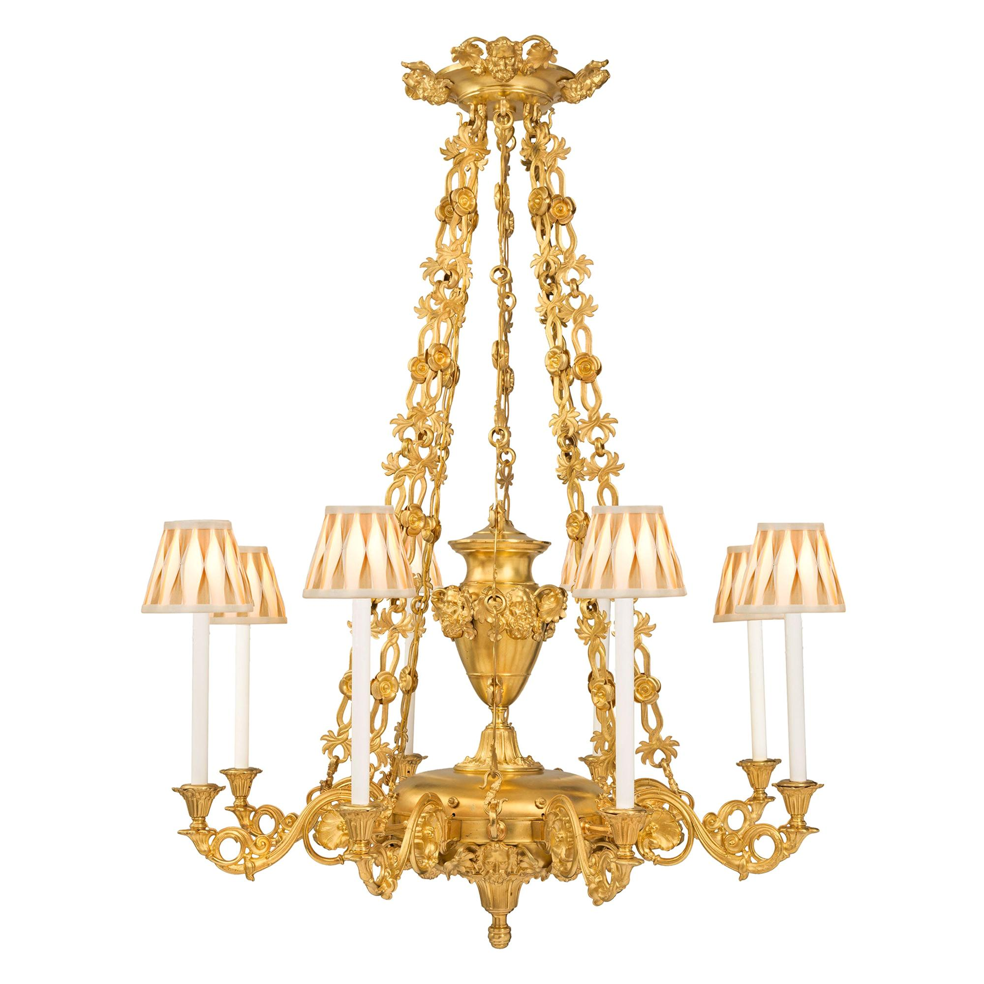 French 19th Century Louis Philippe Period Ormolu Eight-Arm Chandelier