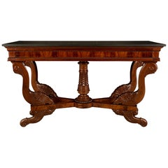 French 19th Century Louis Philippe Style Mahogany and Belgian Marble Console