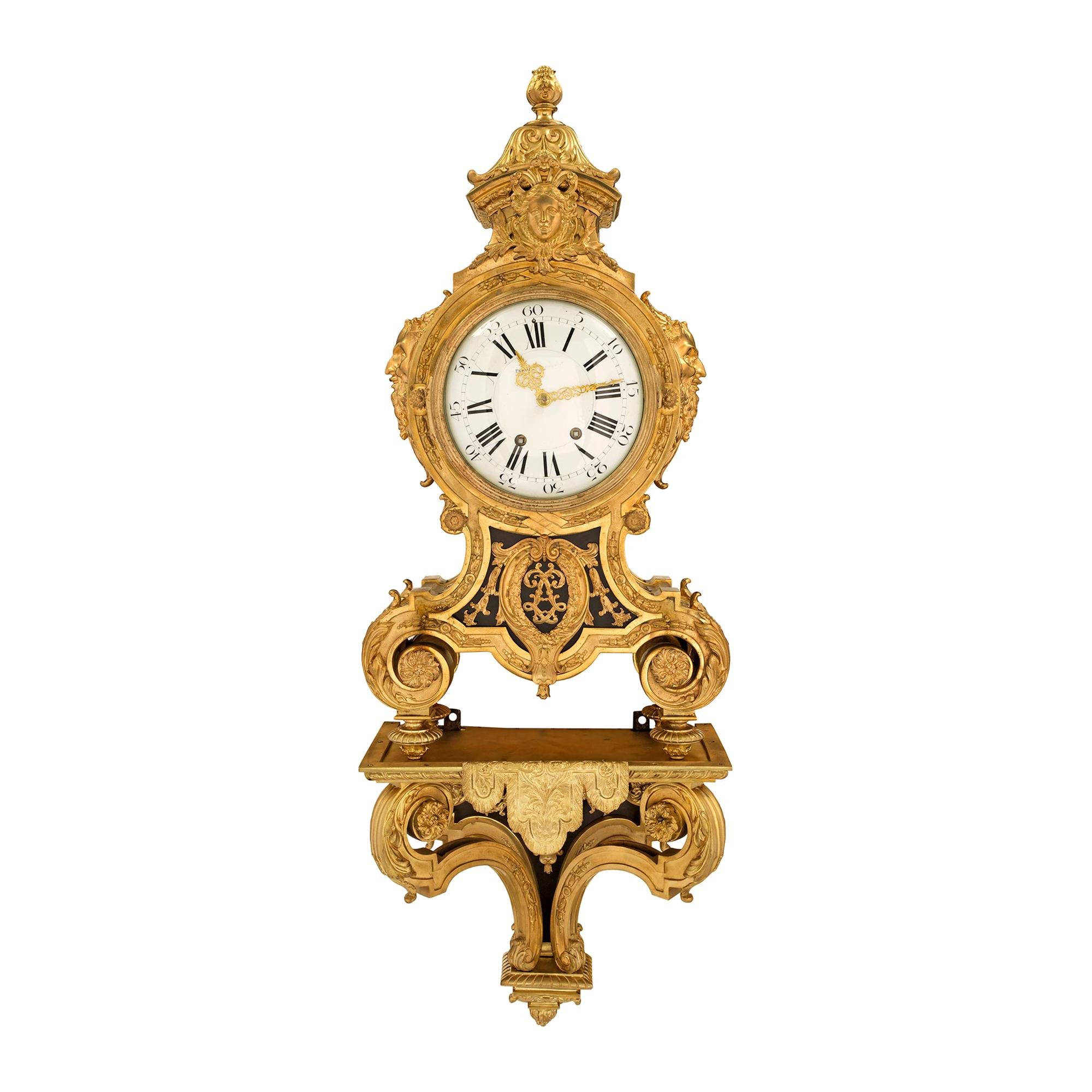 French 19th Century Louis XIV Style Ormolu Cartel Clock