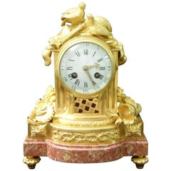 French 19th Century Louis XIV Style Bronze Gilt Mantel Clock