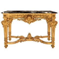 French 19th Century Louis XIV Style Giltwood and Grand Antique Marble Console