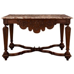 French 19th Century Louis XIV Style Oak and Sarrancolin Marble Center Table