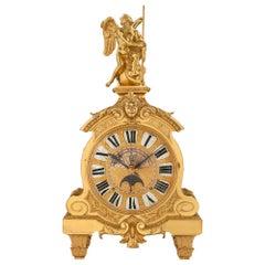 "French 19th Century Louis XIV Style Ormolu Clock Stamped 'DENIERE A PARIS"""