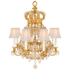 French 19th Century Louis XIV Style Ormolu, Crystal and Glass Royal Chandelier