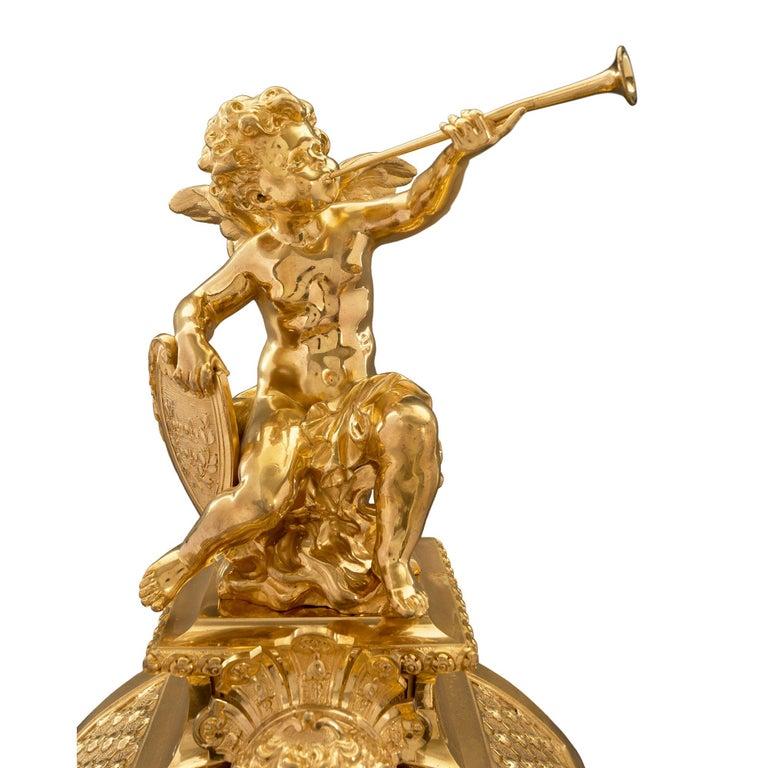 French 19th Century Louis XIV Style Ormolu Three-Piece Garniture Set For Sale 3