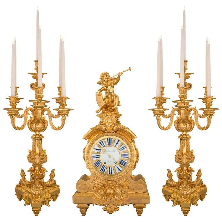 French 19th Century Louis XIV Style Ormolu Three-Piece Garniture Set For Sale