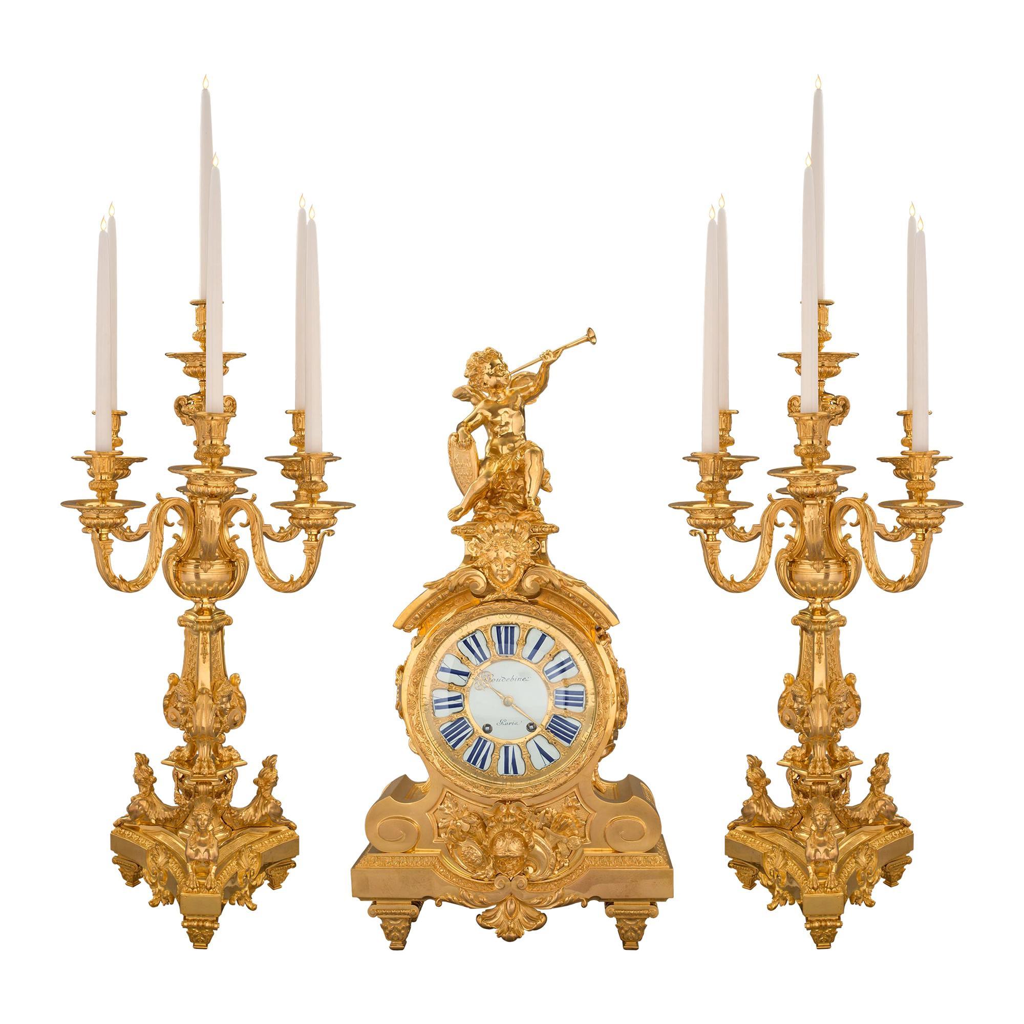 French 19th Century Louis XIV Style Ormolu Three-Piece Garniture Set