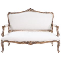 French 19th Century Louis XV Giltwood Settee