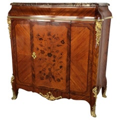 French 19th Century Louis XV Marquetry Cabinet in the manner of Paul Sormani