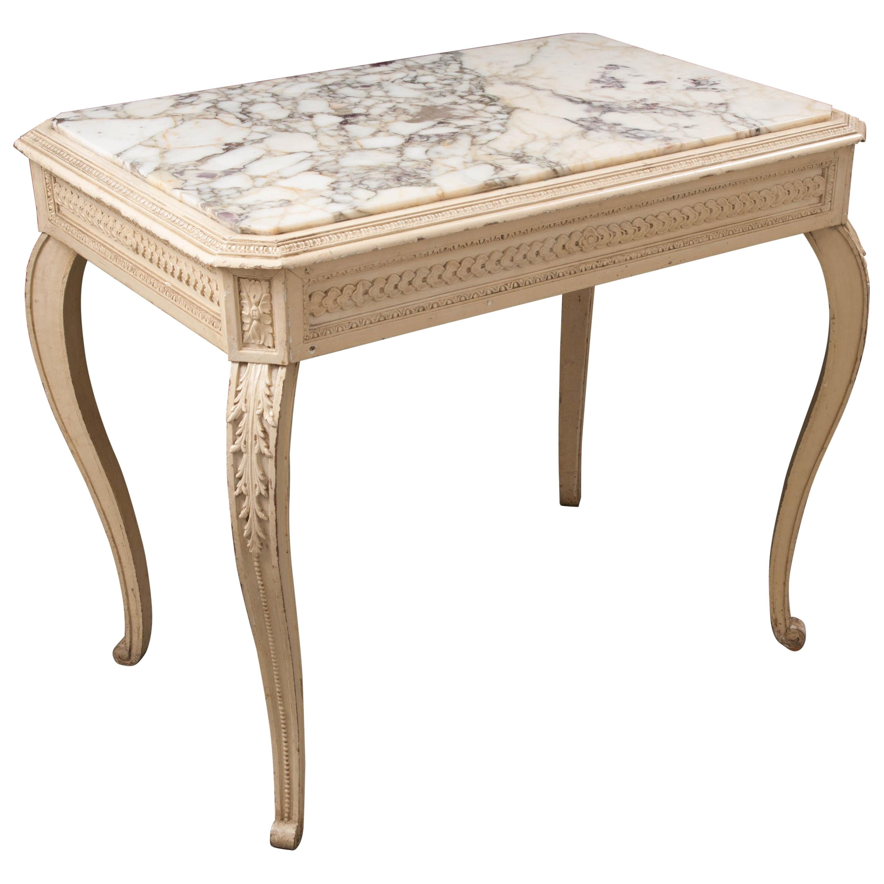 French 19th Century Louis XV Painted Marble-Top Table