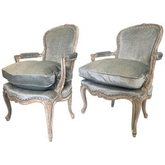 French 19th Century Louis XV Painted, Pegged Armchairs after Pierre Nogaret