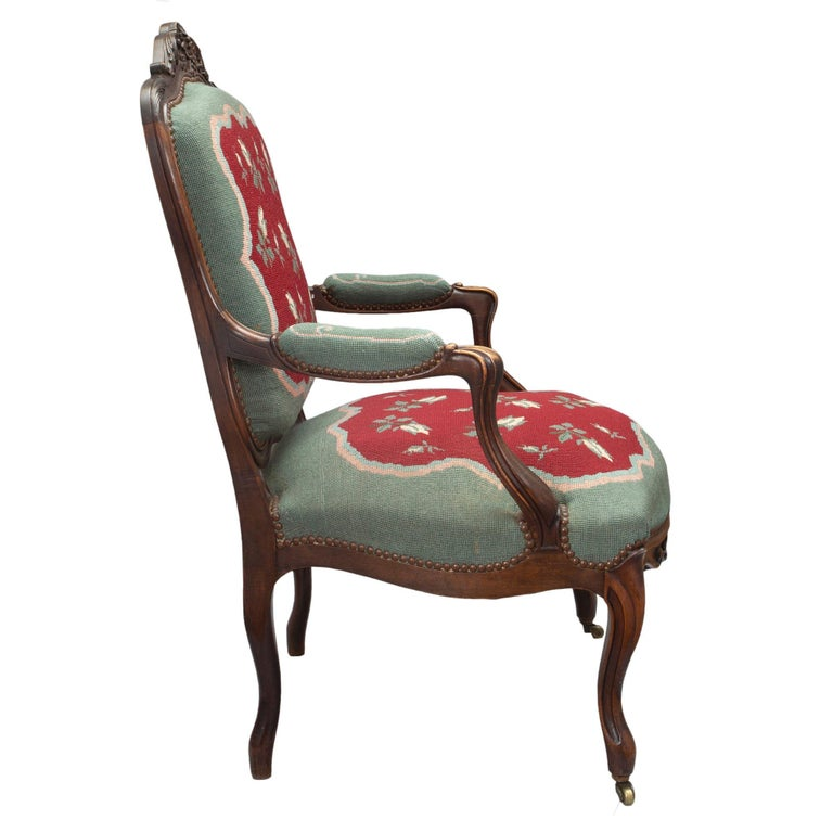 French 19th Century Louis XV Style Carved Armchairs In Excellent Condition For Sale In West Palm Beach, FL