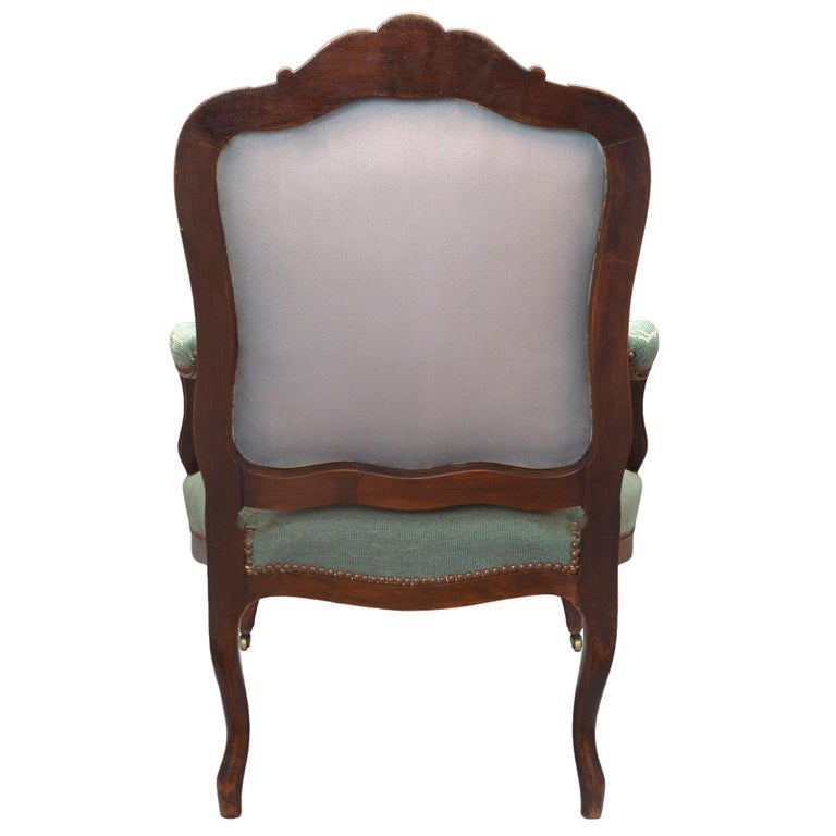 Oak French 19th Century Louis XV Style Carved Armchairs For Sale