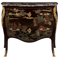 French 19th Century Louis XV St. Coromandel Two-Drawer Bombee Shaped Chest