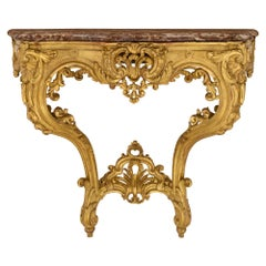 French 19th Century Louis XV St. Giltwood and Marble Wall Mounted Console