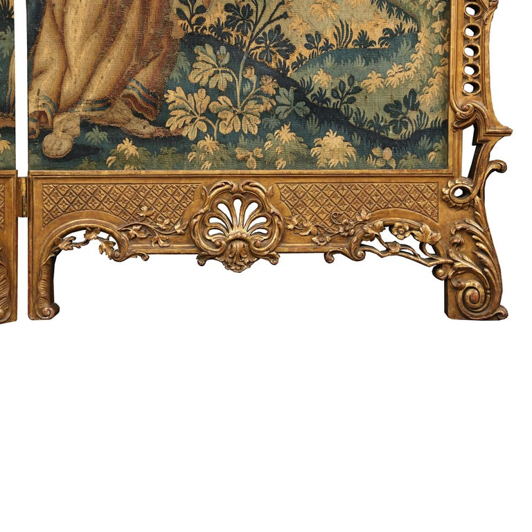 French 19th Century Louis XV St. Giltwood Four Paneled Screen For Sale 4