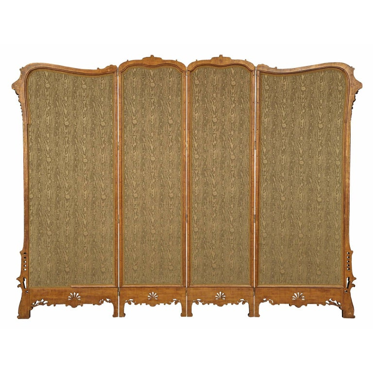 French 19th Century Louis XV St. Giltwood Four Paneled Screen For Sale 5