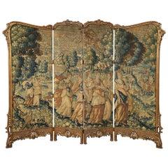 French 19th Century Louis XV St. Giltwood Four Paneled Screen