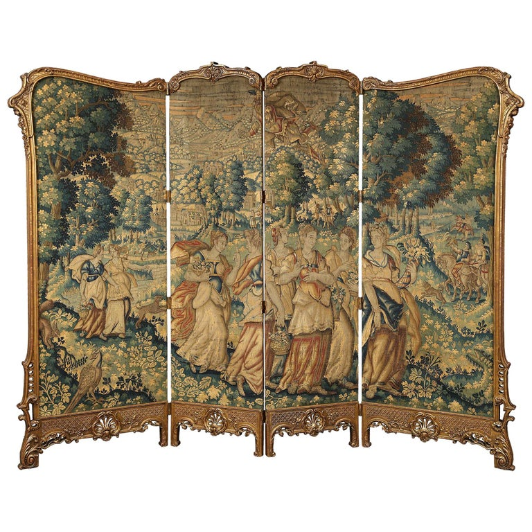 French 19th Century Louis XV St. Giltwood Four Paneled Screen For Sale