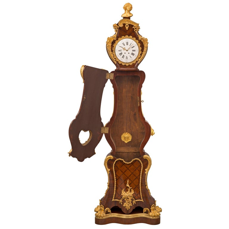 French 19th Century Louis XV St. Grandfather Clock In Good Condition For Sale In West Palm Beach, FL