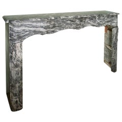 French 19th Century Louis XV Style 'Gris St. Anne' Marble Mantle