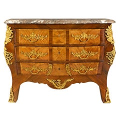 French 19th Century Louis XV St. Kingwood, Tulipwood and Ormolu Commode