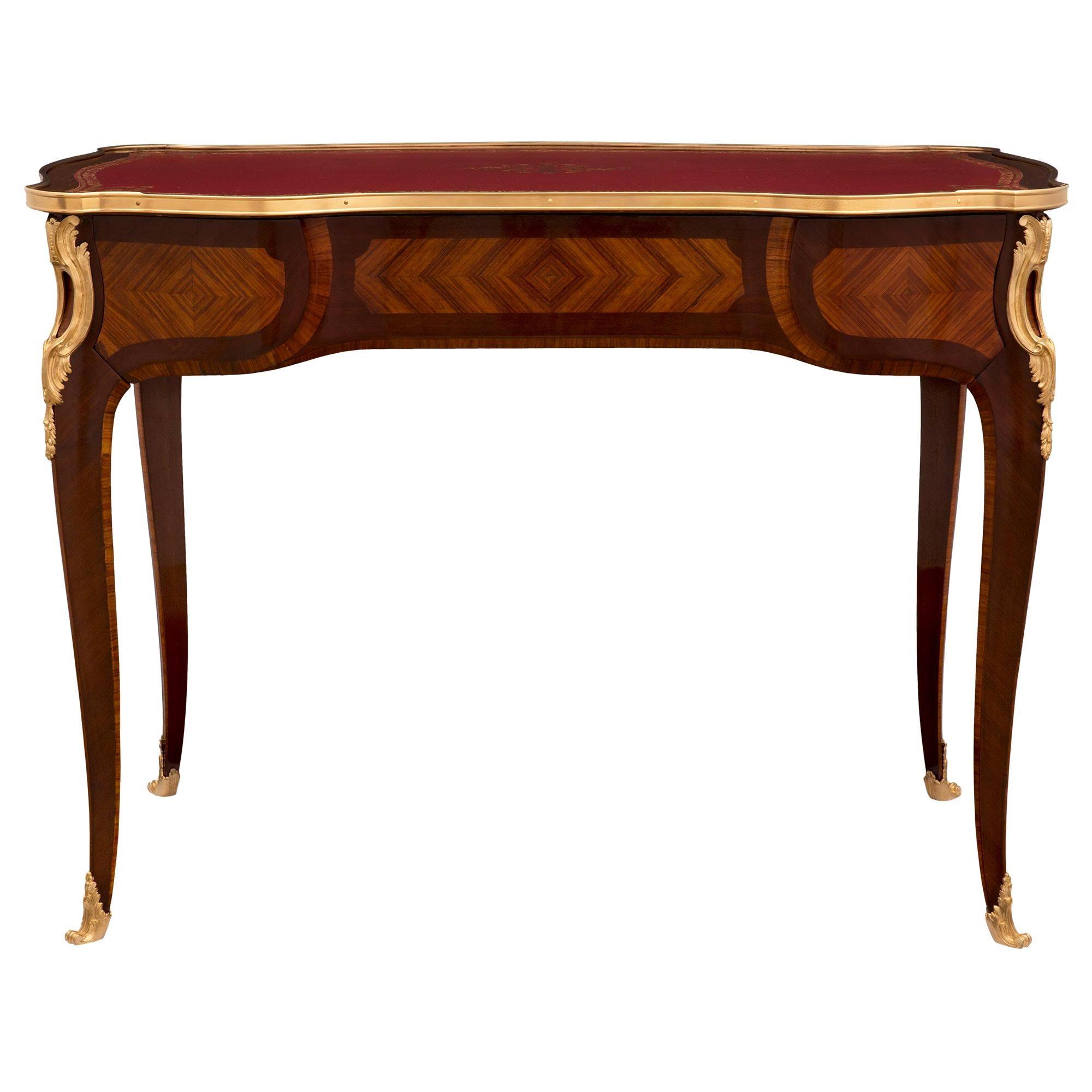 French 19th Century Louis XV St. Kingwood, Tulipwood and Ormolu Desk