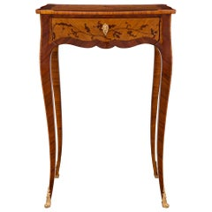 French 19th Century Louis XV St. Kingwood, Tulipwood and Ormolu Side Table