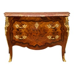 French 19th Century Louis XV St. Kingwood, Tulipwood, Ormolu and Marble Chest